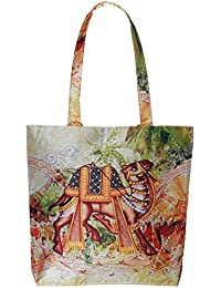 Digitally Printed Tote Fashion Shopping Hand Bag Multipurpose Waterproof Faux Silk And Polysatin Lining 16X14X4...