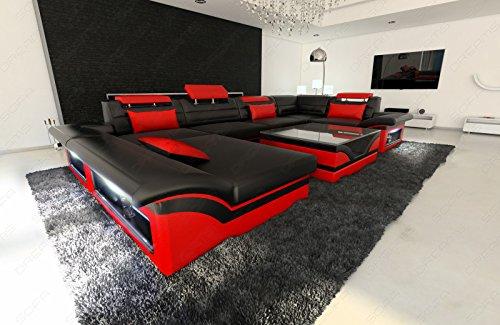 Luxus Wohnlandschaft Enzo LED schwarz rot - 2