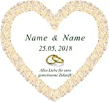Hochzeitsherz zum Ausschneiden * personalisiert mit den Vornamen des Brautpaares * Rosenherz - Hochzeitsplakat für den Hochzeitsbrauch - als Hochzeitsüberraschung und zur Hochzeitsdekoration