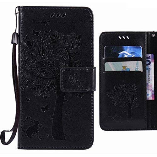 Handyhülle HTC One M8 Hülle Tasche, Ougger Glückliches Blatt Beutel BriefHülle Tasche Bumper Schale Schutzhülle PU Leder Weich Magnetisch Stehen Silikon Haut Flip Case Cover mit Kartenslot (Schwarz)