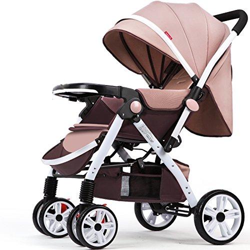 GDLXL Neonatal Kombikinderwagen JMY-001 Bidirektional Klappbare Baby Buggy Geeignet Für Kinder Von 0-3 Jahren Kinderwagen,Brown