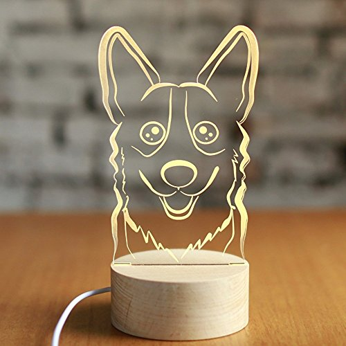 GBT 3D Harz Schatten Solid Wood Puppy Kreative Geburtstagsgeschenk Tischlampe,Dimmschalter - Solid-harz