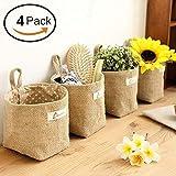 Lino y algodón bolsa de almacenamiento cesta plegable bolsa de almacenamiento cesta con asa,organizar caja...