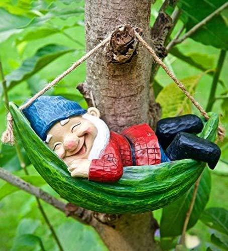 Wonderland Sleeping Gnome on Hammock Garden Decor, Home Decor, Hanging Gnome, Hanging Decor