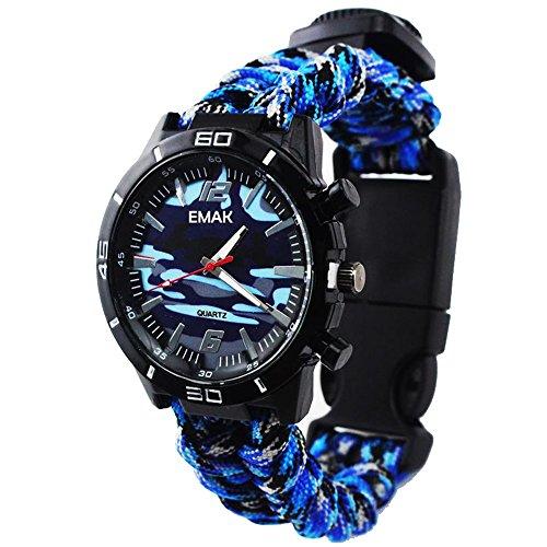 Draussen Survival Uhren Militär Kompass Thermometer Multifunktion Paracord Seil Armband Camouflage Armbanduhren für Herren, Blau