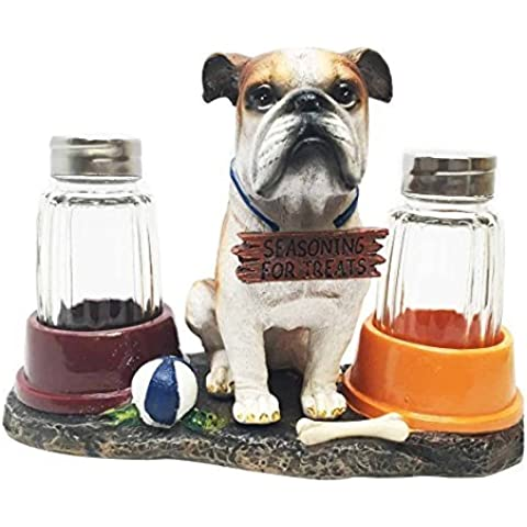 Adorable American Bulldog Puppy Dog Salt and Pepper Shaker Set with Dog Treat Bowls Figurine Stand Holder Decor Sculpture as Kitchen Decor Table Centerpieces or Spice Racks Gift For Dog Owners by Gifts & Decors