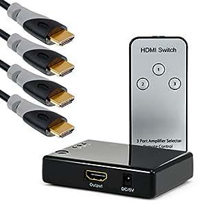 CSL - 3D Ready / Full HD 1080p HDMI Verteiler Set - HQ 3 Port Umschalter/Switch (mit Verstärker) inkl. Fernbedienung + 4 x 1,5m HDMI-Kabel (24K vergoldete Kontakte)   Dolby True HD