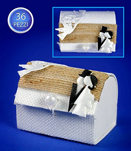 Vetrineinrete scatoline portaconfetti a forma di baule 36 pezzi per matrimonio scatole per confetti bomboniere segnaposto in tessuto bianco con sposi 86266 c69