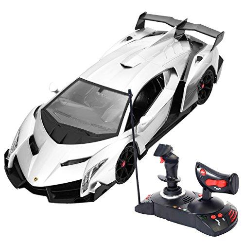 Preisvergleich Produktbild Goplus Lamborghini Veneno 1:14 R/C Modellauto Ferngesteuertes Auto Lizenz Modell (Grau)