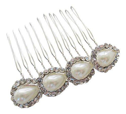 Pick A Gem Accessoires cheveux perle/argent et transparent diamante Peigne à cheveux