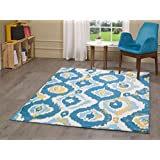"A2Z Rug Luxury Modern Sevilla 5408 Collection Area Rugs, Dark Blue - Cream & Gold 160x230 cm (5ft4"" x 7ft 8"")"