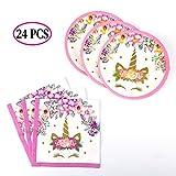 SAVITA Assiettes et Serviettes en Papier Licorne Fournitures de fête à thème Licorne pour Enfants, fête de Naissance, 12 invités(24 Pack)