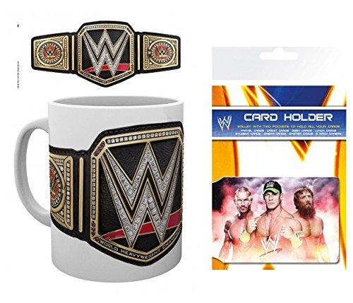 Set: Wrestling, WWE, Title Belt Tazza Da Caffè Mug (9x8 cm) E 1 Wrestling, Porta Carte Di Credito (10x7 cm)