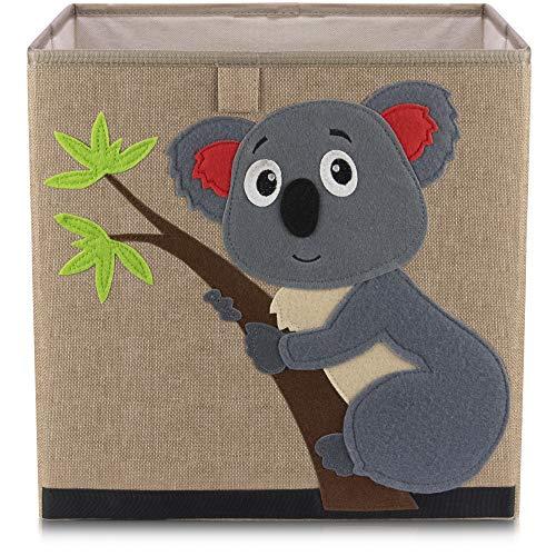 Kinder Aufbewahrungsbox von Lifeney - praktische Aufbewahrungsbox für jedes Kinderzimmer - Kinder Spielkiste - Niedliche Spielzeugbox - Korb zur Aufbewahrung von Kinder Spielsachen (Koala dunkel)
