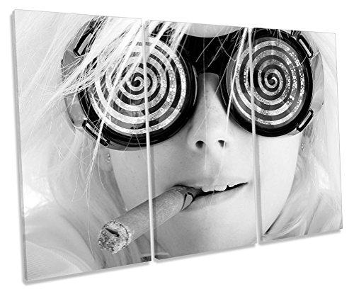 Sonnenbrille Fashion Girl Zigarre B & W Treble Leinwand Wand Art Box Rahmen Bild Druck, 150cm wide x 100cm high
