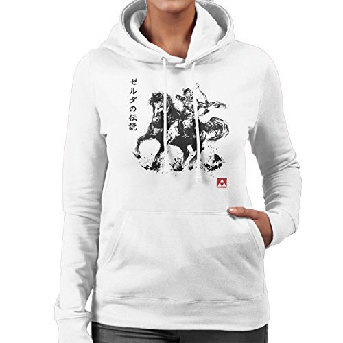 The Legend Of Zelda Wild Hunter Sumie Women's Hooded Sweatshirt white