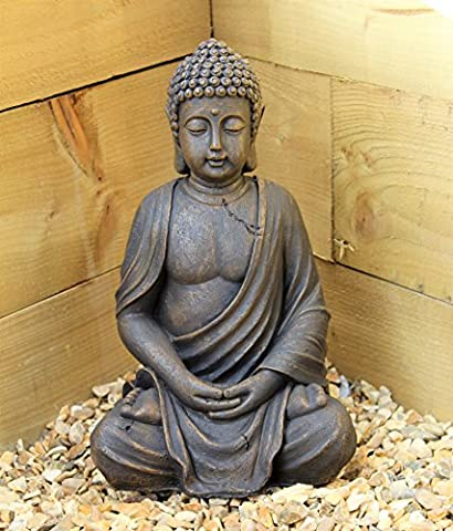 Large 39cm Sitting Buddha Stone Effect Garden Outoor Indoor Statue