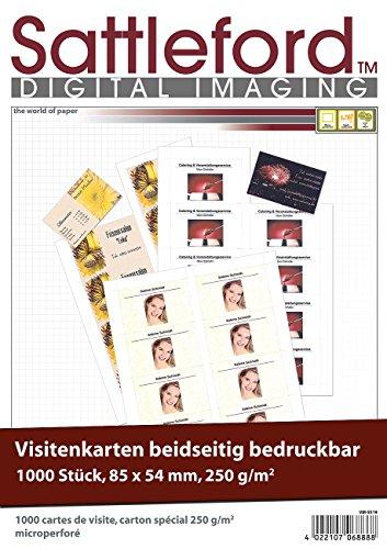 Sattleford Visitenkartenpapier: 1.000 Visitenkarten, microperforiert, Inkjet & Laser, 250g/m², 85 x 54 (Visitenkarten Papier perforiert)