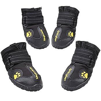 Magic Zone 4pcs Chaussures Chien Hydrofuge Chien Botte Anti-dérapant Bottes de Neige de Protection de Chien pour Taille Différente