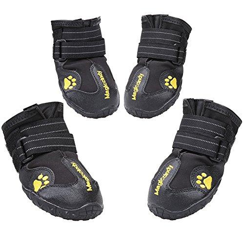 Magic Zone 4pcs wasserdicht Hund Schuhe Non-Slip Dog Schnee Stiefel für verschiedene Größen