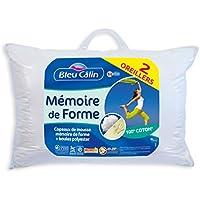 Bleu Câlin OMFW75050 Oreillers Mémoire de Forme Blancs 50 x 70 cm set de 2