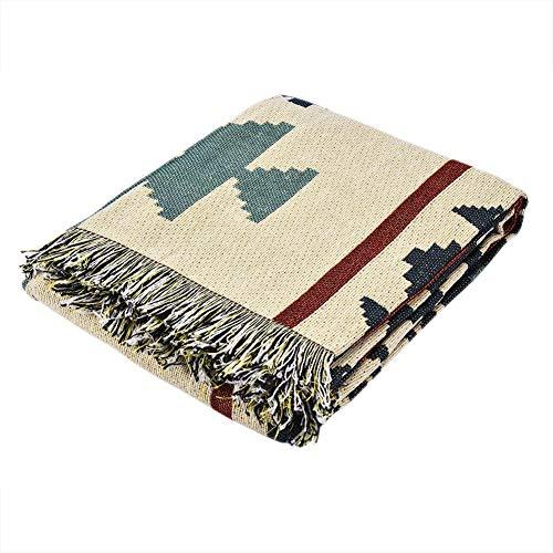 Couch Werfen Doppelseitige Baumwolle Gewebt Leichte Weiche Couch Decke Teppich mit Dekorativen Quasten für Stuhl Outdoor Picknicks Camping(#3) -