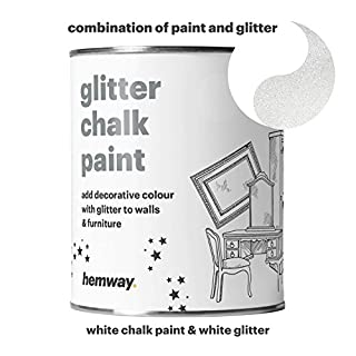 Hemway White Chalk Paint (with White Glitter) Sparkle Matt finish Wall and Furniture Paint 1L / 35oz Shabby Chic Vintage Chalky Crystal (25 Glittery Colours Available)