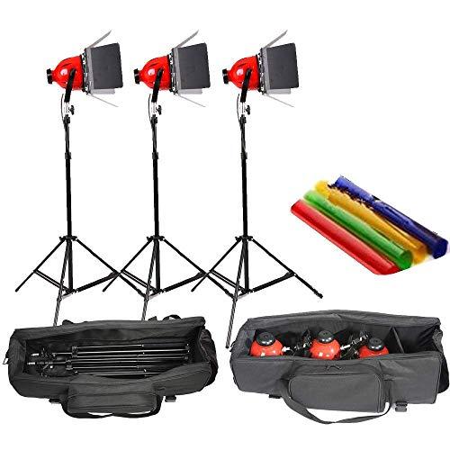 HWAMART ™ gradateur intégré pro photo vidéo Studio continue lumière 800w éclairage vidéo 5mcord tête rouge avec sac de transport 3 Sets avec sac matelassé