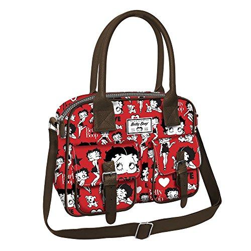 Betty boop rouge - cartella orizzontale con tracolla e doppio manico - colore rosso
