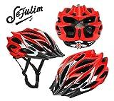 Selfulim Fahrrad helm Damen mit Sonnenblende, rot Glänzend Rennradhelm Herren,MTB Leichter fahrradhelm gr 56-69