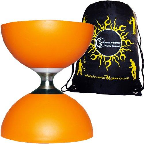 Diabolo Cyclone (Orange) Freiläufer (mit Dreifache kugellager) +Reisetasche! *Ohne Handstäbe.
