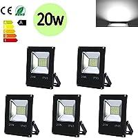 Hengda® 5X 20W Blanco Frío LED Foco proyector Exterior LED Resistente al agua Floodlight IP65