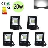 Hengda® 5 Stück 20W SMD LED Strahler Fluter IP65 Außen Flutlicht Leuchtmittel Scheinwerfer Kaltweiß Wandstrahler
