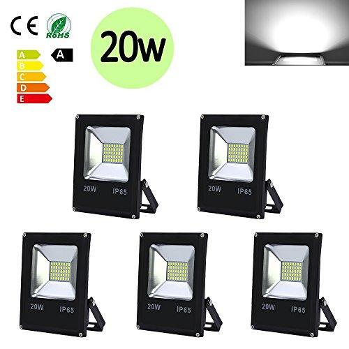 Hengda® 5X 20W Blanco Frío LED Foco proyector Exterior LED Resistente al...