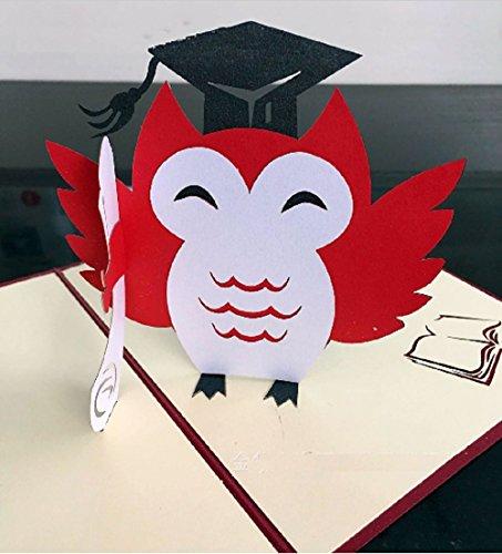 dgemachte Pop-up-Pop-up Graduierung Origami Kirigami Eule Karte Feier Zeremonie Hut Schule College Universität Geschenk ihm ihre Freundin Familie ()
