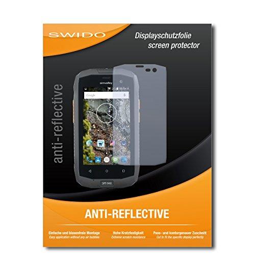 SWIDO Schutzfolie für Simvalley Mobile SPT-940 [2 Stück] Anti-Reflex MATT Entspiegelnd, Hoher Härtegrad, Schutz vor Kratzer/Displayschutz, Displayschutzfolie, Panzerglas-Folie