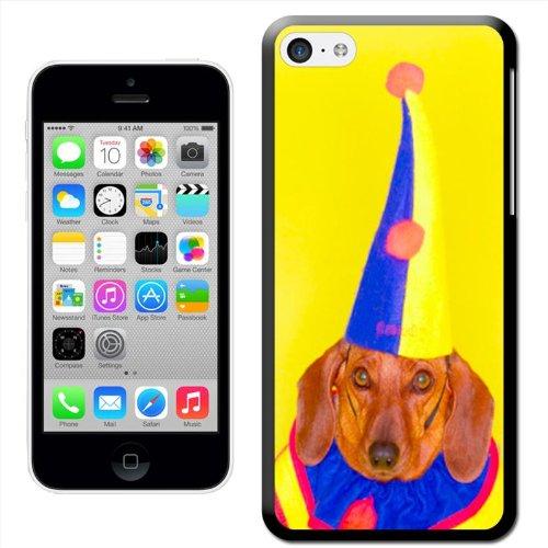 Fancy A Snuggle 'Dackel Hund in Clown Jester Kostüm' Hard Case Clip On Back Cover für Apple iPhone 5C (Einfach Dackel Kostüm)