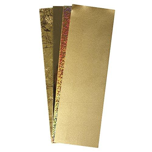 Rayher Hobby 31437000 Verzierwachs Gold, Verzierwachsplatten, 4 Gold-Töne Sortiert, je Wachsplatte 20 x 6,5 cm, Stärke 0,6 mm, Wachs Zum Kerzen verzieren