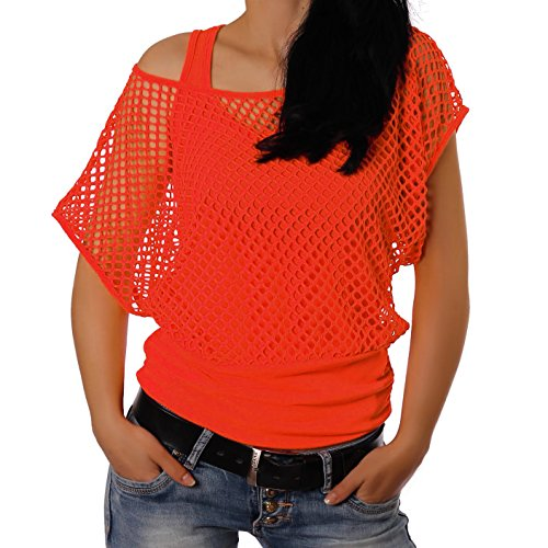 tytop Sommertop Fasching Fest Karnelval Halloween Netzoberteil aktueller Trend in Neonfarben Sommerfarben Cool Sexy Tops Damenoberteile (S/M, Neonorange(AMA)) ()