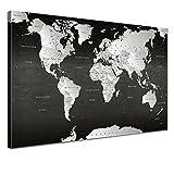 LANA KK - Weltkarte Leinwandbild mit Korkrückwand zum pinnen der Reiseziele - 'Weltkarte SW' - deutsch - Kunstdruck-Pinnwand Globus in schwarz, einteilig & fertig gerahmt in 120x80cm
