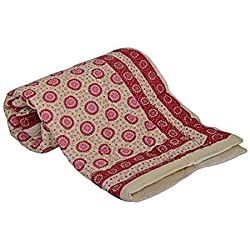 Jaipuri haat premium quality Pure Cotton Double Dohar/AC Comfort/Blanket/Quilt (Double bed) with cover