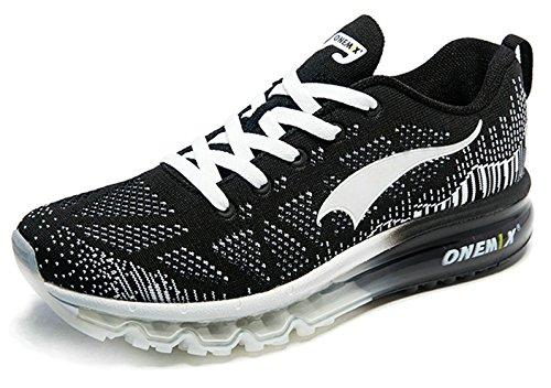 Onemix Hommes Air De Course Baskets Fitness Gym Chaussures Sport Multisports outdoor mixte adulte Noir blanc