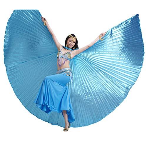 Tookang Dance Fairy Bauchtänzerin Isis Flügel Keine Sticks Tanzkostüm-Zubehör Bauch Tanz Darstellende Künste Halloween Fasching 1# See blau (ohne Stock)