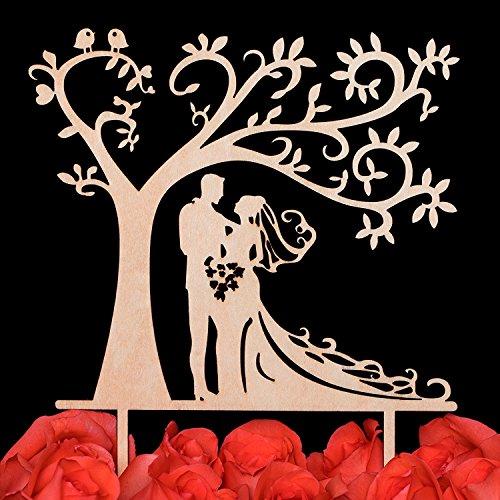 lovenjoy mit Geschenk-Box Braut und Bräutigam Silhouette Baum Hochzeit Tortenaufsatz Rustikal Holz (144mm)