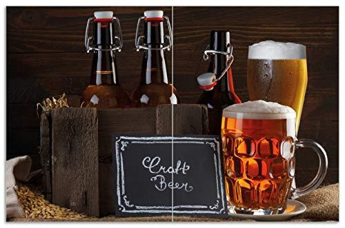 Wallario Herdabdeckplatte/Spritzschutz aus Glas, 2-teilig, 80x52cm, für Ceran- und Induktionsherde, Motiv Biervarianten - Pils im Glas Flaschenbier Schild Craft Beer -