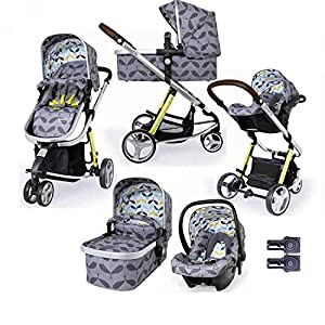 Cosatto Giggle 3 Travel System in Seedling with Car Seat adaptors & Raincover   6