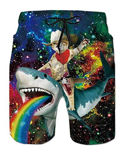Spreadhoodie Pantalones Cortos Natacion para Hombre Diseño de Gatos Traje de Bano Azul Bañador Estilo...