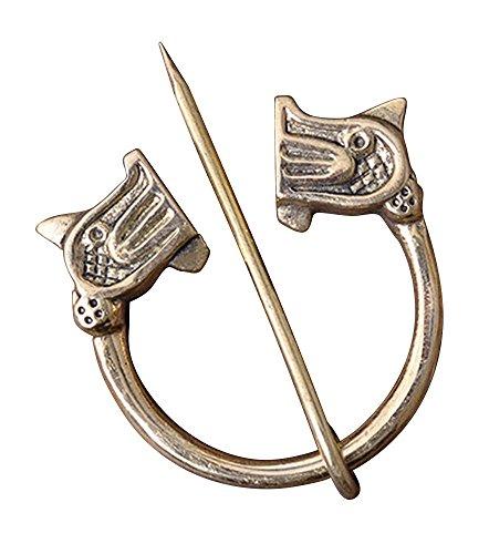 Wikinger-Ringfibel mit Drachenköpfen, Messing Gewandschließe Mystische Brosche Wikinger Gewandschmuck Fibel LARP (Zeit, Der Das Schwert Replik)