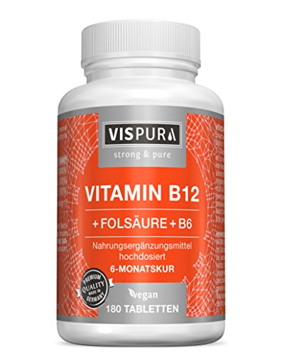 VISPURA® Vitamin B12 hochdosiert 1000 µg mit Vital-Formel Folsäure + Vitamin B6 Methylcobalamin 180 Tabletten vegan deutsche Premium-Qualität