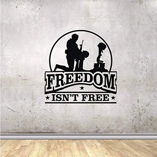 Wzxhn Militär Vinyl Wandtattoos Armee Helm Stiefel Waffe Freiheit Ist Nicht Wohnkultur Aufkleber Kunst Zitat Boy Room Decals 57 * 65 Cm